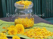 Ringelblumen-Kokosöl, selbstgemacht, Ringelblumen, Weckglas, Blütenblätter