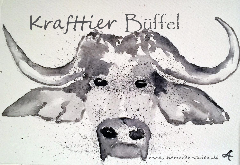 Krafftier Büffel, hier Aquarell monochrom