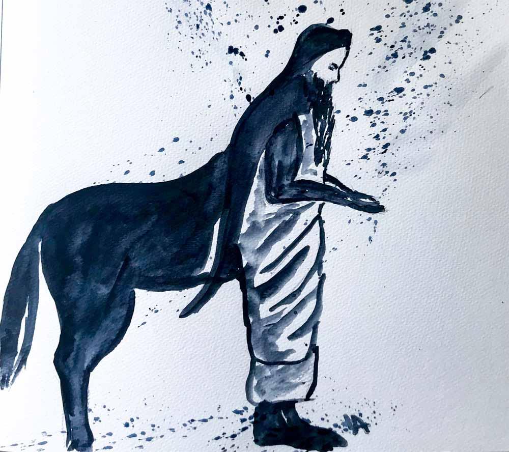 der griechische Gott Chiron, der verwundete Heiler als Aquarell